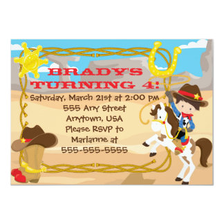 Custom Little Cowboy birthday invitation