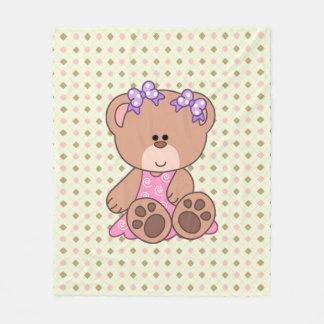 Custom Little Girl Bear Fleece Blanket