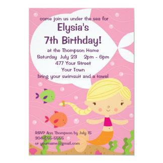 "Custom Little Girls Mermaid Birthday Party 5"" X 7"" Invitation Card"