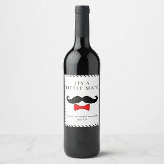 Custom Little Man It's A Boy Mustache Red Bow Wine Label