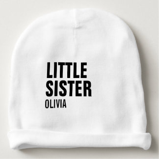 Custom Little Sister Baby Cotton Beanie Baby Beanie