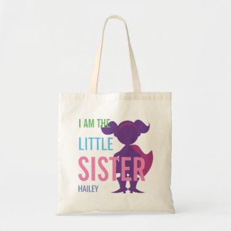 Custom little sister superhero silhouette girls tote bag