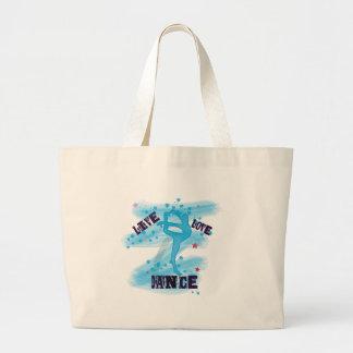 Custom Live Love Dance Blue Dancer Large Tote Bag