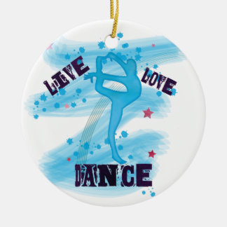 Custom Live Love Dance Blue Dancer Round Ceramic Ornament