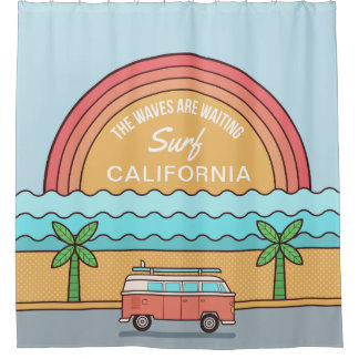 Custom Location Surfer shower curtain
