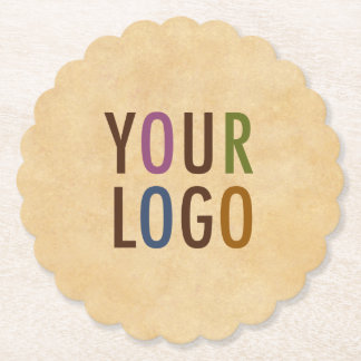 Custom Logo Branded Vintage Style Scallop Round Paper Coaster