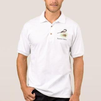 Custom Logo, Chickadee, Bird, Pine, Business Polo Shirt