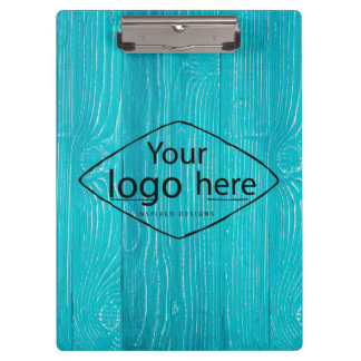 custom logo on aqua blue woodgrain clipboard