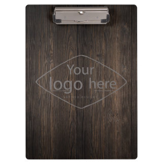 custom logo on classic dark woodgrain clipboard