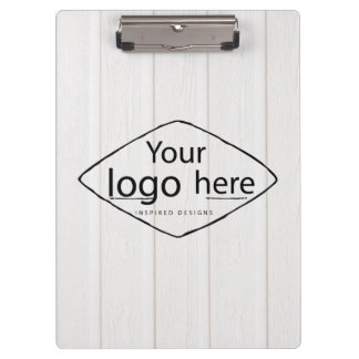custom logo on white wood boards clipboard