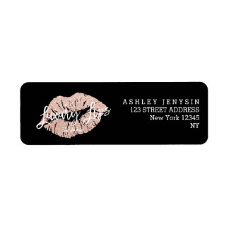 Custom Logo rose gold glitter lips typography