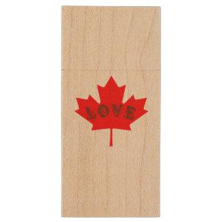 Custom love Canada maple leaf flash drive