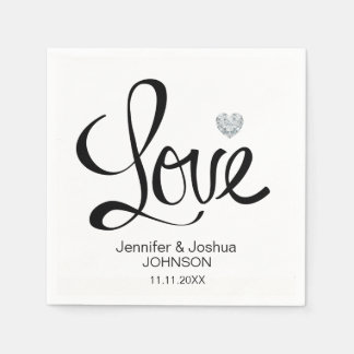 Custom LOVE Diamond Heart Black White Wedding Paper Napkin