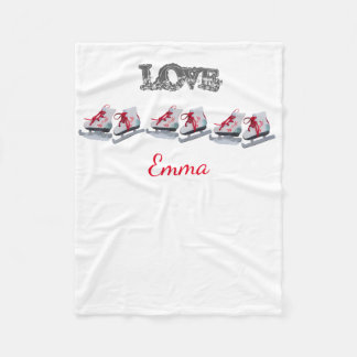 Custom love ice skates on white add a name fleece blanket