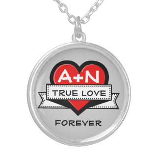 Custom Love Initials Heart With Ribbon V3A Silver Plated Necklace