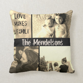 Custom love makes a family photo collage throw pillow