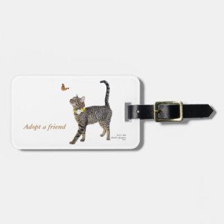 custom luggage tag featuring Tabatha, the Tabby