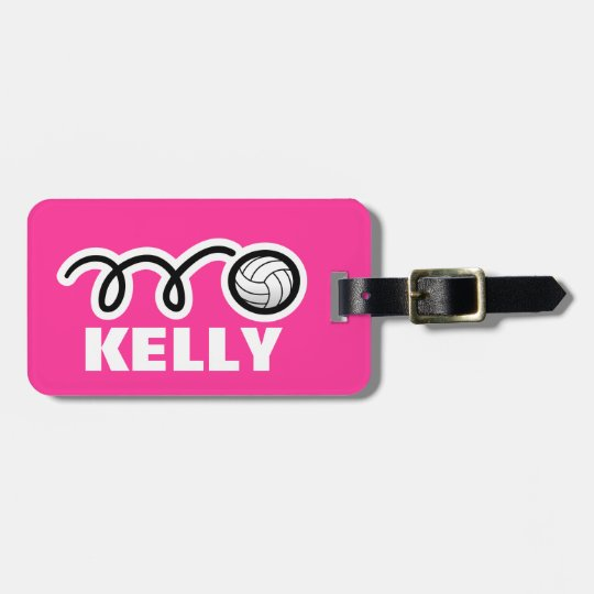 Custom luggage tag with cute volleyball design