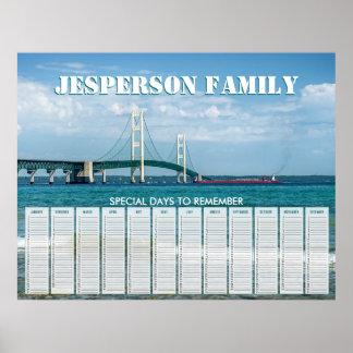 Custom Mackinac Bridge Birthday Calendar Poster