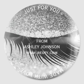 Custom Made Glam Diamond Eye Silver Gray Glitter Classic Round Sticker