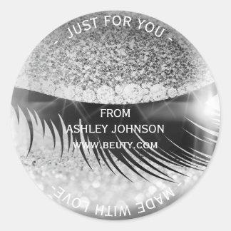 Custom Made Glam Diamond Eye Silver Gray Glitter Round Sticker