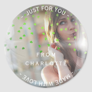 Custom Made with Love For You Photo Cloves Bubble Classic Round Sticker
