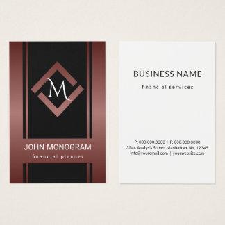 Custom Mahogany Red Metallic Geometric Monogram Business Card