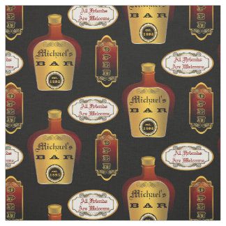 Custom Man Cave Liquor Bottle Bar Open Pattern Fabric