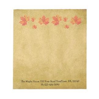 Custom Maple Leaves Small Notepad