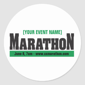 Custom Marathon Running Event Classic Round Sticker