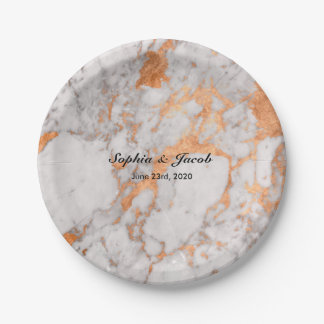 Custom Marble & Copper Wedding Paper Plates 7 Inch Paper Plate