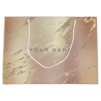 Custom Marble Gold Metallic Abstract Copper Blush Large Gift Bag