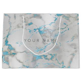 Custom Marble Gray Blue Metallic Aqua Silver Large Gift Bag