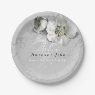 Custom Marble Real Flower Gray Silver Metallic Paper Plate
