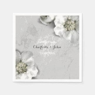 Custom Marble Silver Gray Metallic Floral White Napkin