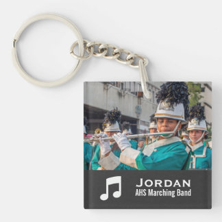Custom Marching Band Orchestra Music Photo Collage Single-Sided Square Acrylic Keychain