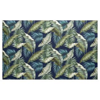 CUSTOM Marilyn-2 Hawaiian Leaves Green Teal Navy Fabric