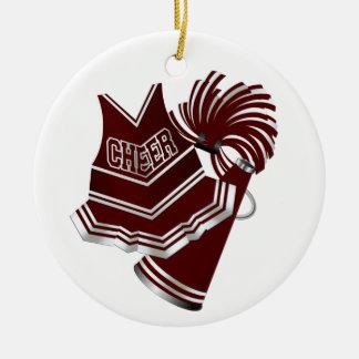 Custom Maroon & White Cheerleader Ornament