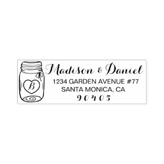 Custom Mason Jar Address Stamp, Self Inking stamp