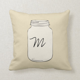 Custom Mason Jar Monogram Pillow - Tan