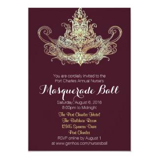 Custom Masquerade Ball Invitations - Wine Color