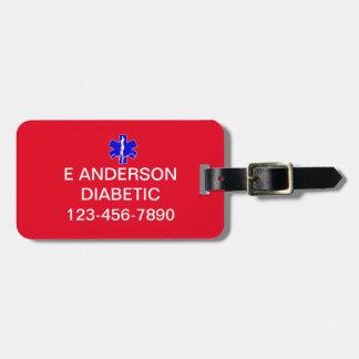 Custom Medical Identification Emergency Alert Luggage Tag