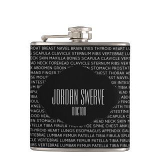 Custom Medical Terminology Hip Flask