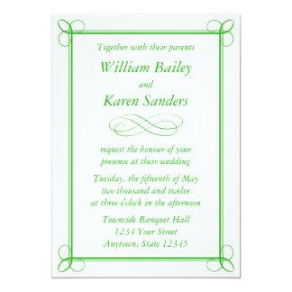 Custom Medium Green Invitation - Scroll Design