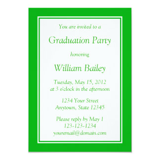 Custom Medium Green Invitation with Green Text