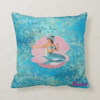 Custom, Mermaid in a Shell. Throw Pillow