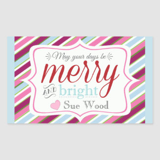 Custom Merry and Bright Christmas Gift Stickers