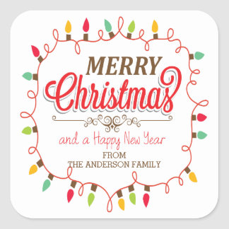 Custom Merry Christmas Bright Lights Sticker
