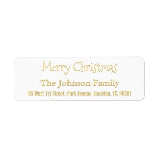 Custom Merry Christmas Faux Gold Return Address