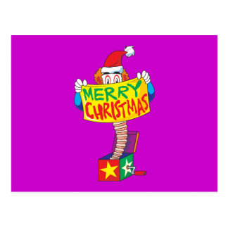 Custom Merry Christmas Jack in a Box Wind Up Toy Postcard